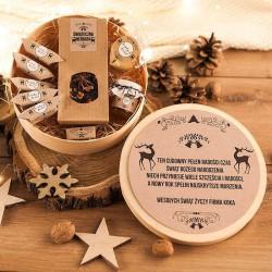 KOSZ prezentowy świąteczny firmowy w pudełku Z NAZWĄ Zimowy Wieczór