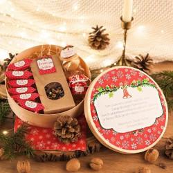 KOSZ prezentowy świąteczny firmowy w pudełku Z NAZWĄ Czerwone Święta