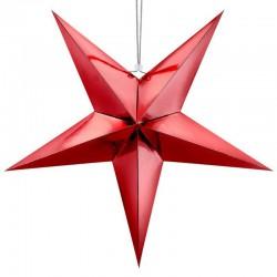 DEKORACJA świąteczna Gwiazda papierowa CZERWONA 70cm