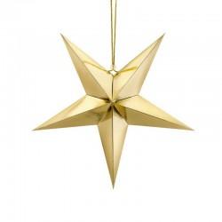 DEKORACJA świąteczna Gwiazda papierowa ZŁOTA 45cm