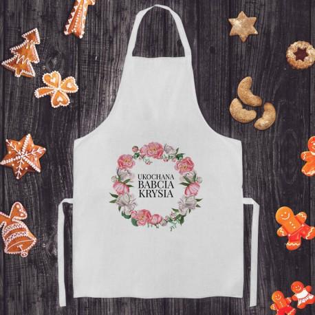 FARTUCH kuchenny na Prezent dla Babci Z IMIENIEM Różowy Wianuszek