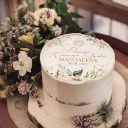 OPŁATEK na tort komunijny Pudrowe kwiaty Z IMIENIEM Ø20cm