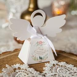 PUDEŁECZKA Aniołek na Komunię Pudrowe Kwiaty Z IMIENIEM (+białe wstążki) 10szt