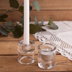 ŚWIECZNIK 2w1 do świec długich i tealightów Chrzest Komunia ślub