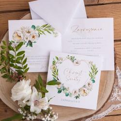 ZAPROSZENIA na Chrzest Serce i białe kwiaty 10szt (+koperty)
