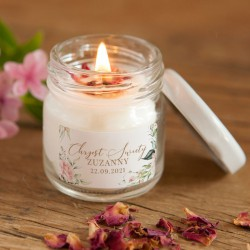 ŚWIECA sojowa na Chrzest podziękowanie Z IMIENIEM Pudrowe Kwiaty 100% Handmade