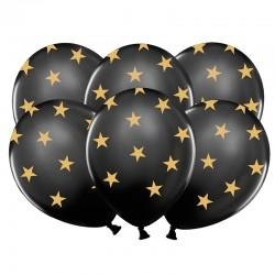 BALONY czarne w gwiazdki 6szt