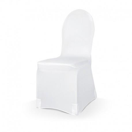 POKROWCE na krzesło elastyczne BIAŁE HURT