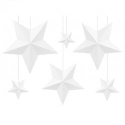 DEKORACJA Papierowe Gwiazdy BIAŁE 6szt
