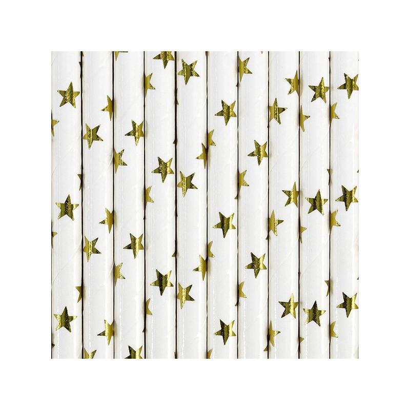 Białe słomki w metaliczne złote gwiazdki