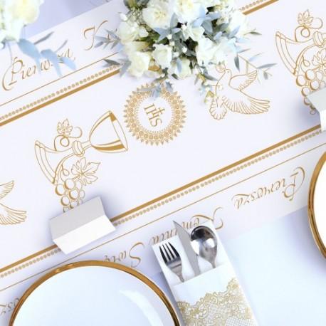 BIEŻNIK dekoracja komunijna stołu Złoty Kielich 40cmx10m