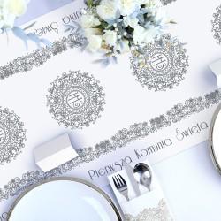 BIEŻNIK obrus dekoracja komunijna stołu Srebrna Hostia 40cmx5m
