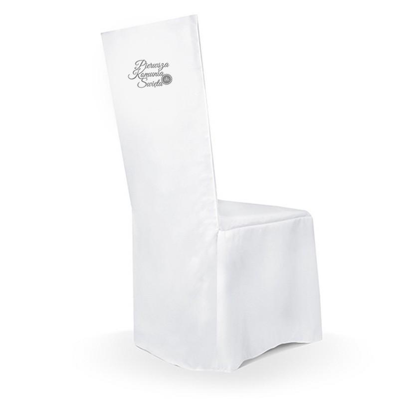 Poważne POKROWIEC na krzesło komunijne Pierwsza Komunia SREBRNY WL13