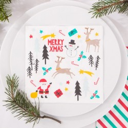 SERWETKI Merry Xmas color 33x33cm 20szt