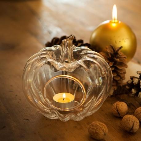 Świecznik szklany w kształcie dyni