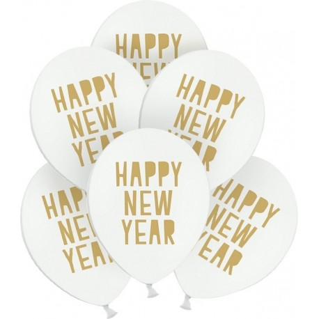 BALONY sylwestrowe ze złotym napisem Happy New Year 30cm 6szt BIAŁE