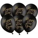 BALONY sylwestrowe ze złotym napisem Happy New Year 30cm 6szt CZARNE