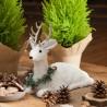 JELEŃ leżący z futerkiem dekoracja świąteczna 30x10x30cm