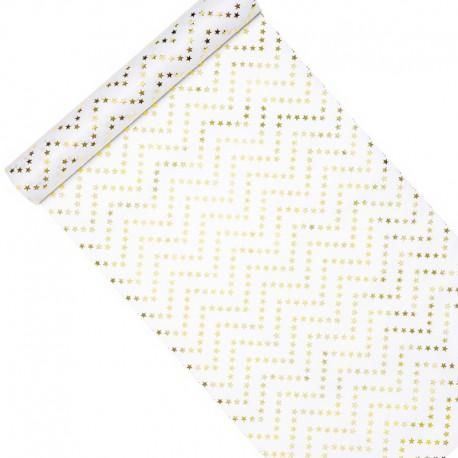 BIEŻNIK świąteczny flizelinowy Złote Gwiazdki BŁYSK 0,36x9m