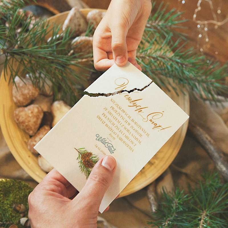 Opłatek z życzeniami świątecznymi w naturalnym stylu