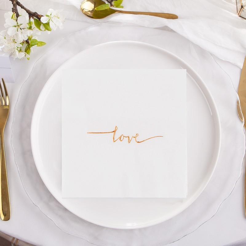 serwetki na wesele ze złotym napisem