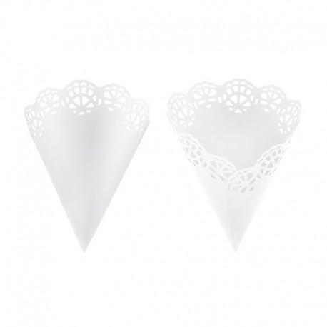 ROŻKI na konfetti koronkowe białe 20cm 10szt