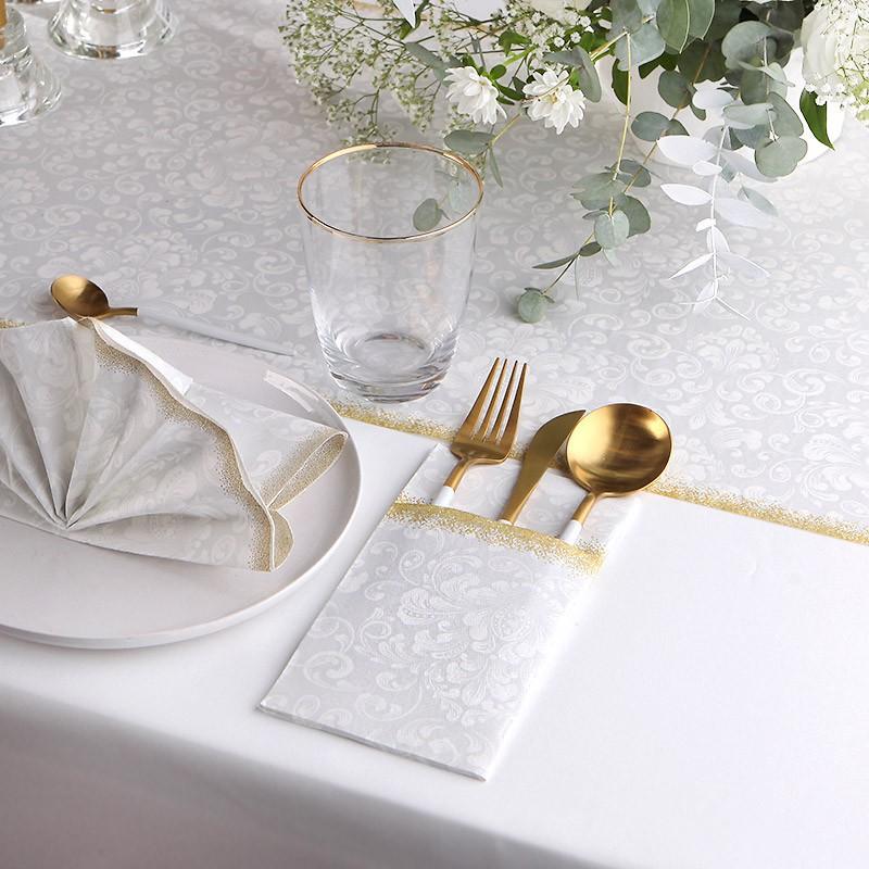Serwetki i kieszonki na sztućce srebrno- złote