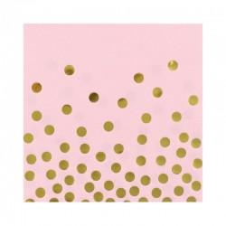 SERWETKI papierowe Gold Dots PINK 33x33cm 12szt