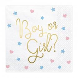 SERWETKI na Baby Shower Boy or Girl 33x33cm 20szt