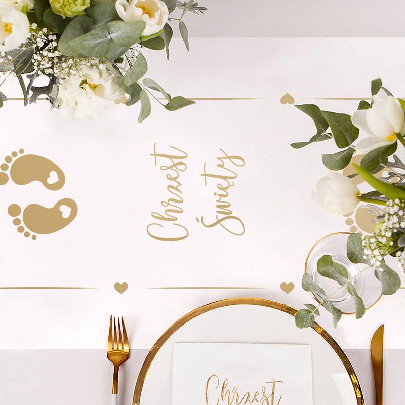 Bieżnik na stół z motywem złotych stópek