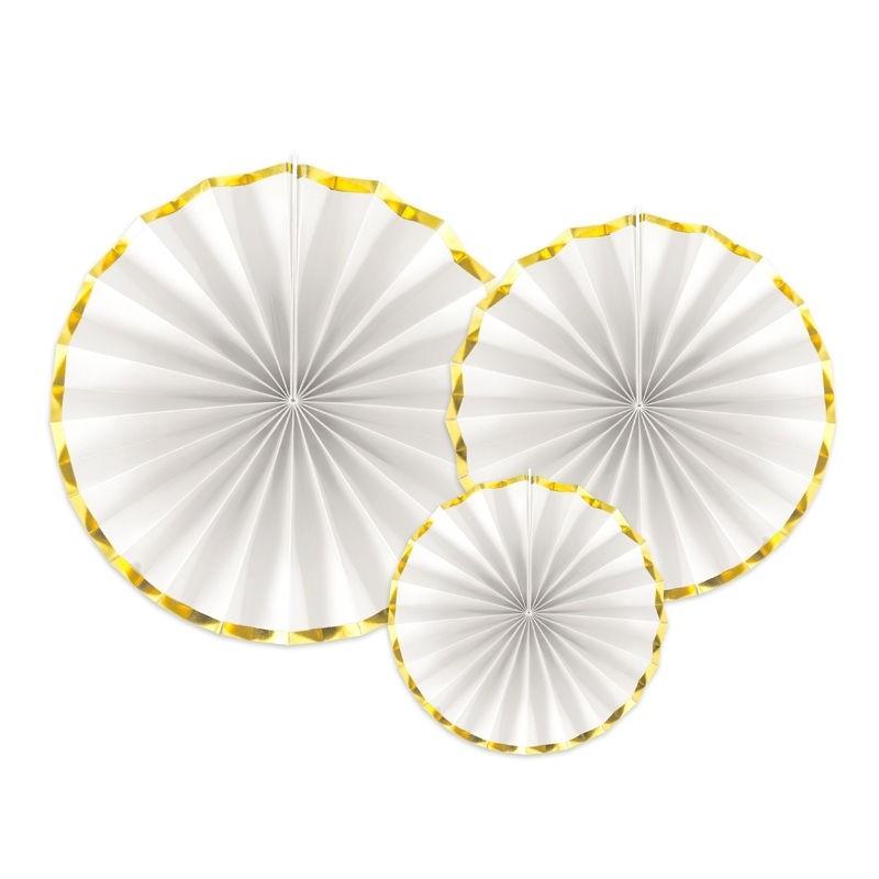 Rozety białe ze złotymi brzegami do dekoracji