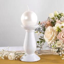 ŚWIECZNIK ceramiczny 2w1 na świece proste, pieńkowe i kule 18cm