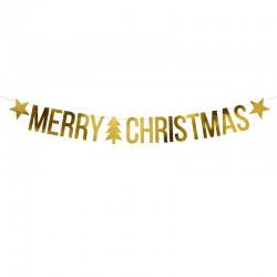 Baner świąteczny Merry Christmas, złoty, 10,5x150cm