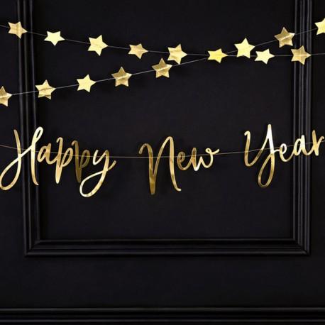 BANER Happy New Year 66x18cm ZŁOTY