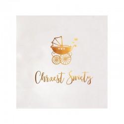 SERWETKI na Chrzest z napisem Złoty Wózeczek 33x33cm 20szt