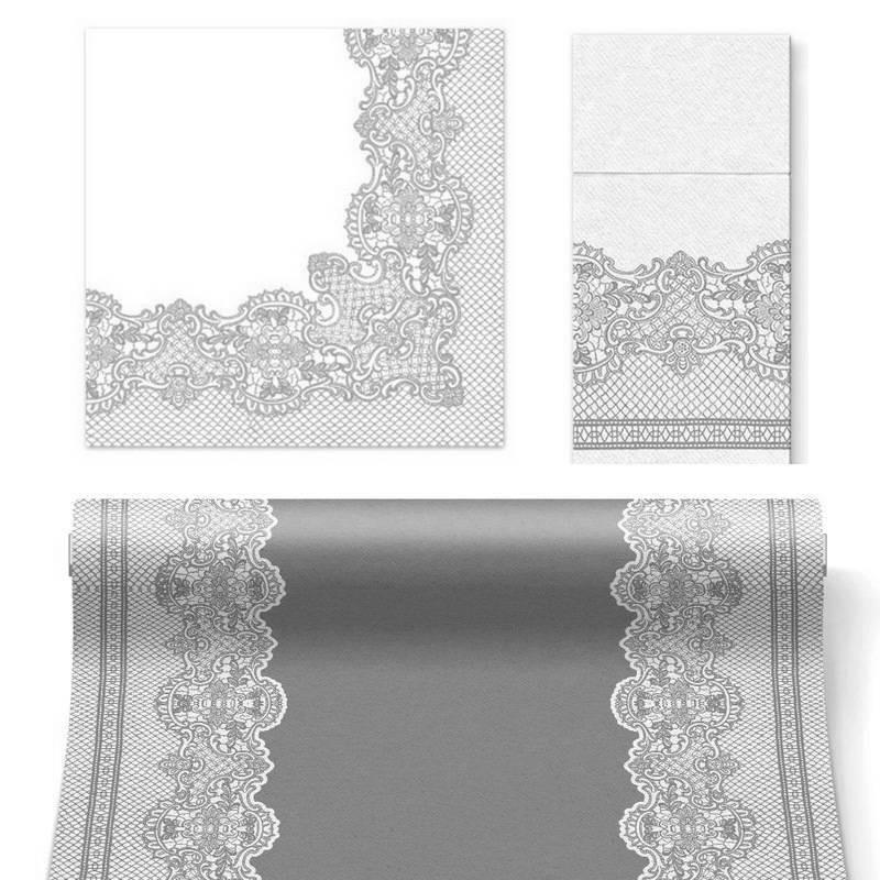 zestawy dekoracji na stół w kolorze srebrnym