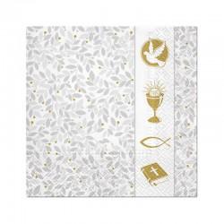 SERWETKI na Chrzest i Komunię srebrno-złote 33x33cm 20szt