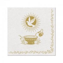 SERWETKI flizelinowe na Chrzest Gołąb i Chrzcielnica 40x40cm 50szt