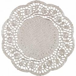 PODKŁADKI pod ciasto/talerze SREBRNE Ø36cm 10szt LUX