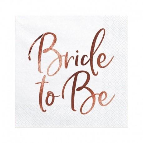 SERWETKI papierowe napis ROSEGOLD Bride to Be 33x33cm 20szt