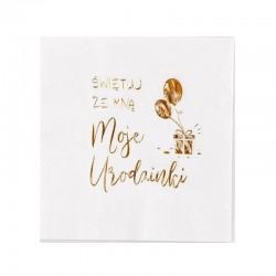 SERWETKI na urodziny ze złotym napisem Moje Urodzinki 33x33cm 20szt BIAŁE