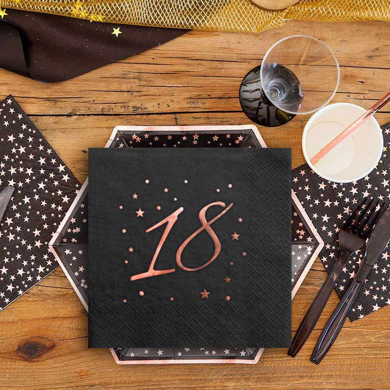 Serwetki na 18 urodziny rosegold black