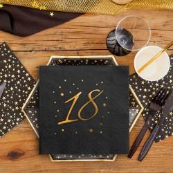 SERWETKI na 18 urodziny ze złotym napisem 33x33cm 20szt CZARNE