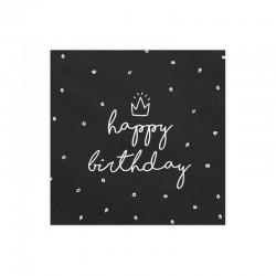 SERWETKI Happy Birthday CZARNE 33x33cm 20szt