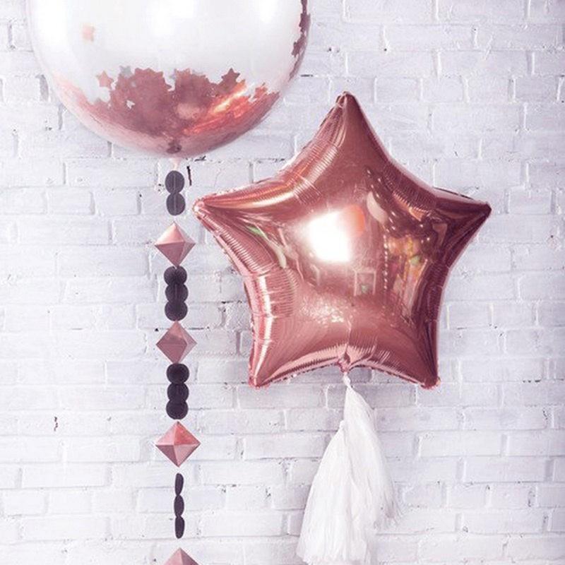 balon gwiazda w kolorze rosegold
