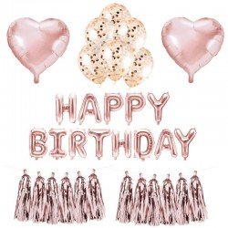 MEGA ZESTAW balonów urodzinowych ROSEGOLD