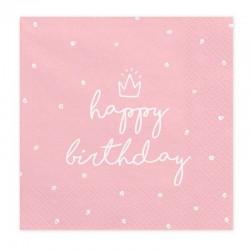 SERWETKI Happy Birthday różowe 33x33cm 20szt