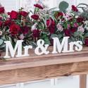 NAPIS drewniany na stół weselny Mr&Mrs BIAŁY