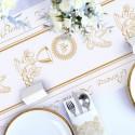 BIEŻNIK dekoracja stołu komunijnego flizelinowy Złota Komunia 5 METRÓW