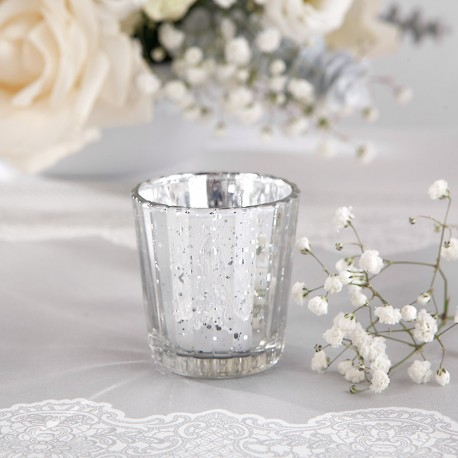 ŚWIECZNIKI szklaneczki na tealighty SREBRNE 4szt
